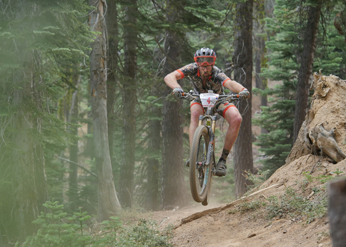 Santa Cruz Factory Racing pro rider Scott Chapin pinned on the Downieville Classic 2015 course (Sierra Buttes Trail Stewardship).