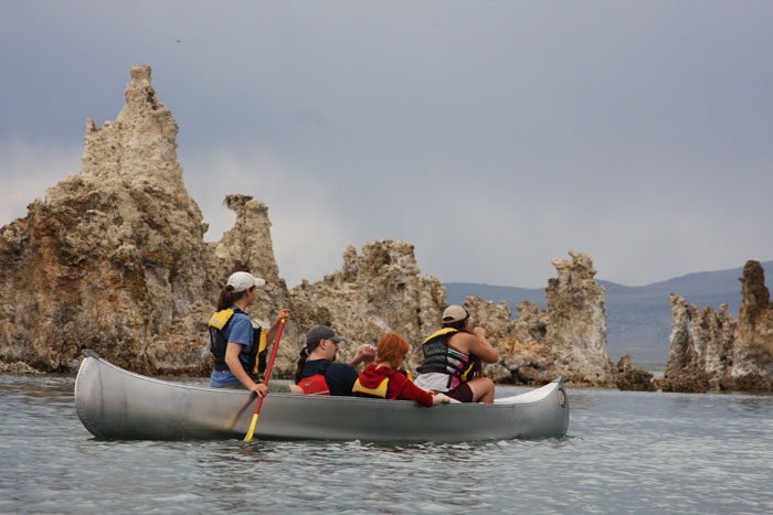 Guided canoe tours give visitors a close look at the lake's wonders.