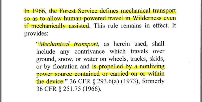 "In 1966, the USFS defined ""mechanical transport"" as a device propelled by a ""nonliving"" power source, further proving bicycles were not intended to be excluded from Wilderness."