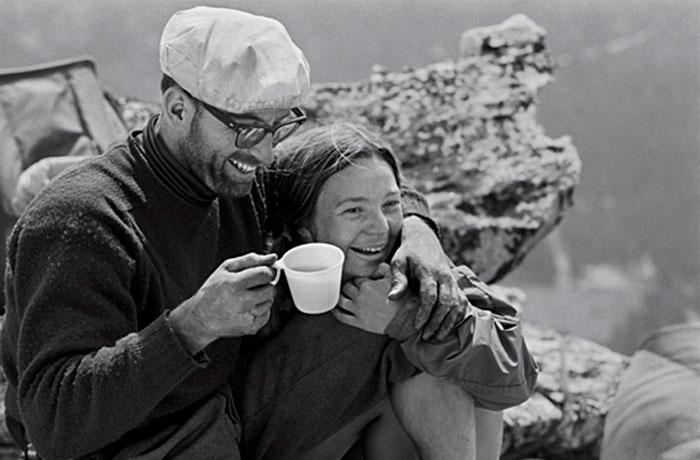 Royal and Liz Robbins atop El Capitan after Royal's historic first solo ascent of El Cap's Muir Wall in 1968 (Glen Denny).
