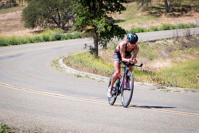 Liz Lyles cycles clear of the field. Photo: Alex Felker
