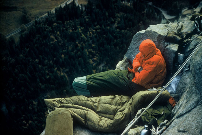 Cold bivy on El Cap (Wayne Merry).
