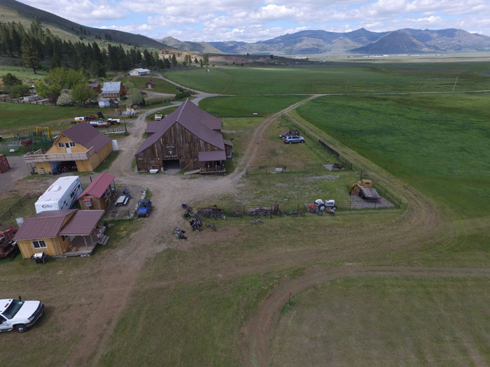 Aerial view of the mountain biking ranch.