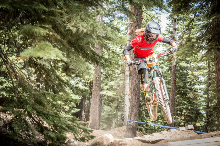 Kathy Pruitt (Juliana Bicycles) goes over the top in last year's Northstar Enduro (Called To Creation).