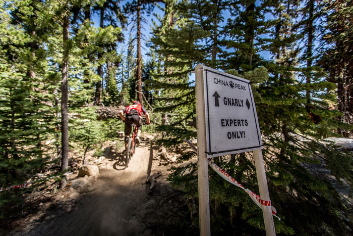 This sign could apply to almost every trail raced at China Peak.