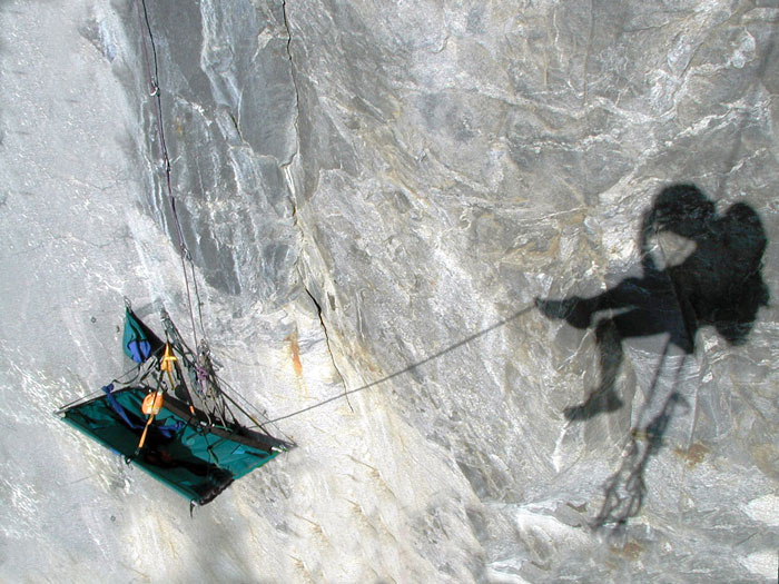 Self-portrait of Matt Niswonger's shadow and his hanging camp high on the east face of El Capitan in Yosemite during a solo ascent in 2002. Shortly afterwards he gave up on his dreams and was a shadow of his former self for nearly a decade.
