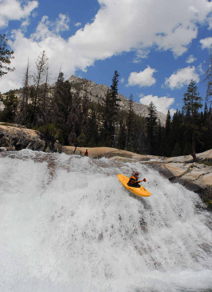 Rolf Kelly on a great white slide on the Kings River (Darin McQuoid).