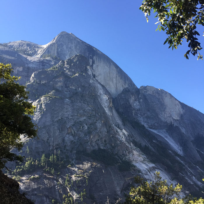 A unique perspective on Half Dome from the back of the valley (Meggan Wenbourne).