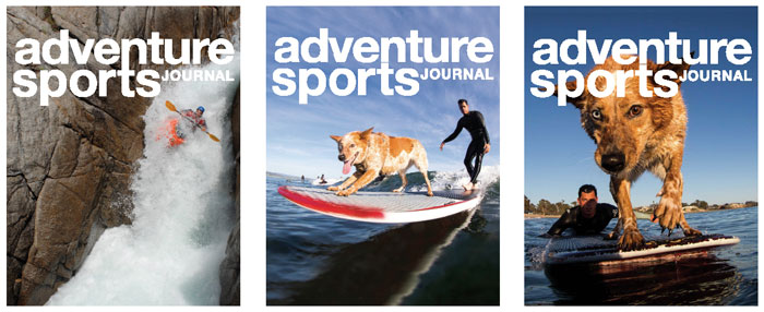 Photo of whitewater kayaker by Darin McQuoid. Skyler the Surf Dog photos by Nelly.