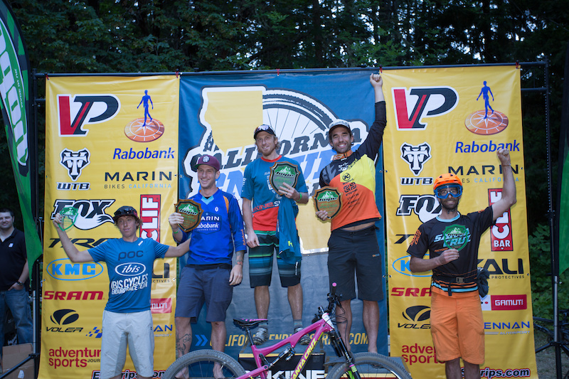Pro Men's podium. Nathan Riddle made it two years in a row by taking the win. The guys swapped stage wins all day long, but Nathan cemented his win by dominating the final stage of the day. 1st - Nathan Riddle 2nd - Ryan Gardner 3rd - Cory Sullivan 4th - Scott Chapin 5th - Dillon Santos