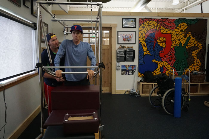 High Fives athlete Jason Abraham works out in the CR Johnson Healing Center three days a week with High Fives full time trainer Jack Powell, aka Jack the Trainer. Photo: High Fives Foundation.