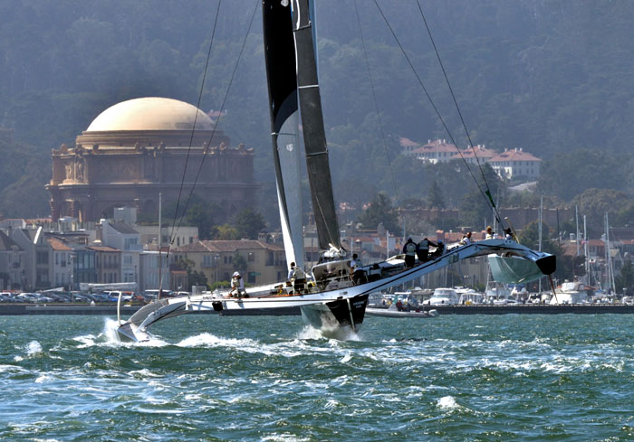 Orion competing in the ROLEX Big Boats Series 2014 in San Francisco. A crew of seven to eight is required to manage the vessel (Renegade Sailing/Martha Blanchfield).
