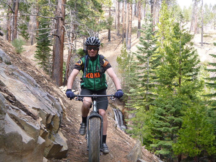 Jeff on the fat bike the Carson City trail community purchased for him.