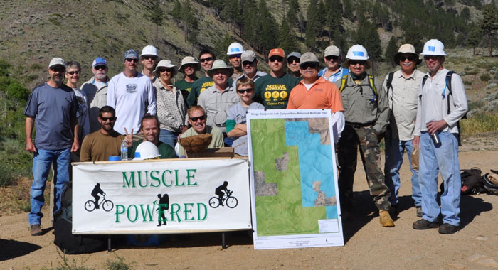 Americorp's Nevada Conservation Corps crew (NCC) works on the Ashes to Kings Trail.