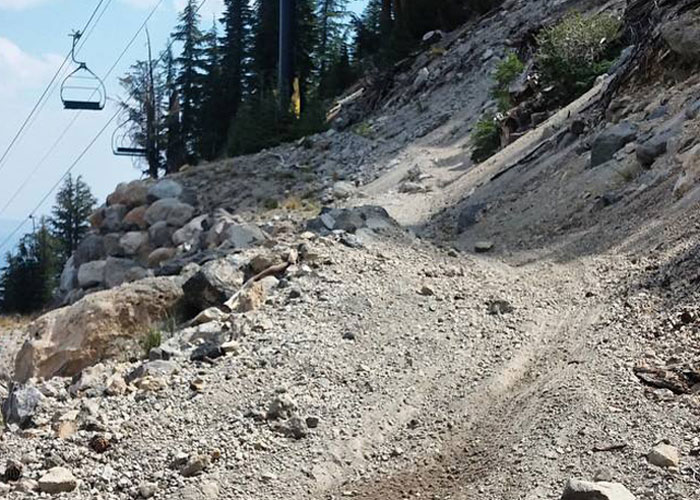Kitty litter on top of moondust with chunky rocks thrown in for good measure. This is Mammoth Mountain's celebrated terrain! (Bogdan Marian)