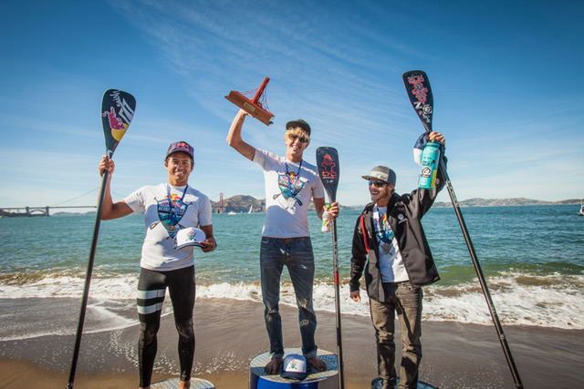 (Left to Right) Kai Lenny (2nd), Connor Baxter (1st), and Zane Schweitzer (3rd) on the podium after the Red Bull Heavy Water in San Francisco, CA, USA on October 19th, 2016.