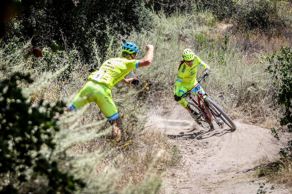 "Team competition started really heating up at the Toro Enduro. Clint Claassen (left) cheers on teammate Marshall ""Enduro Jesus"" Eames on Stage 3. Photo: Called to Creation."