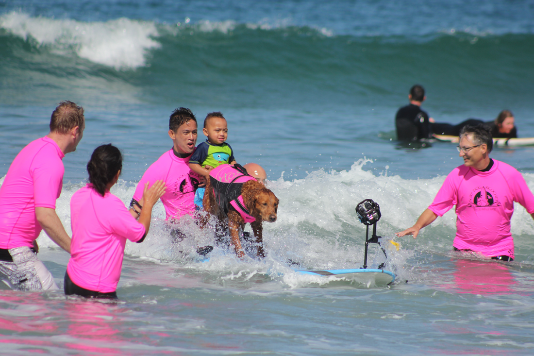 One of the effects of PTSD and other disabilities is social isolation. The organization provides a safe environment where participants and volunteers are embraced with an abundance of compassion, encouragement and positivity. So much so, that service members Amy and her husband were eager for their two year old son to surf with Ricochet.
