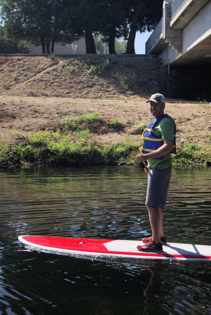 CWC Executive Director Greg Pepping paddles the San Lorenzo River (Melissa Foley).