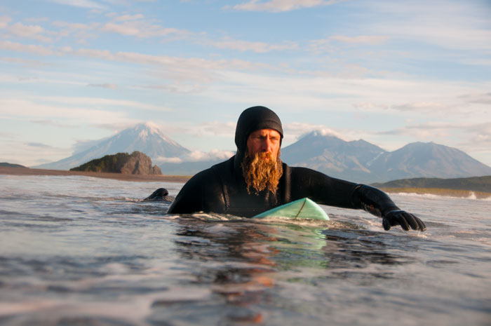 Keith Malloy paddling out deep in Russia on the Kamchatka Peninsula, 2012.