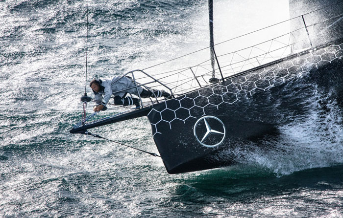 Skipper Alex Thomson during training for the Vendee Globe 2016. Photo: Cleo Barnham / Hugo Boss • Vendee Globe Images.