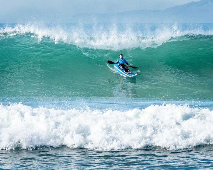 Jocelyn tears it up at the Ventura Paddle Surfing Championships in 2015.  Photo: Generikal