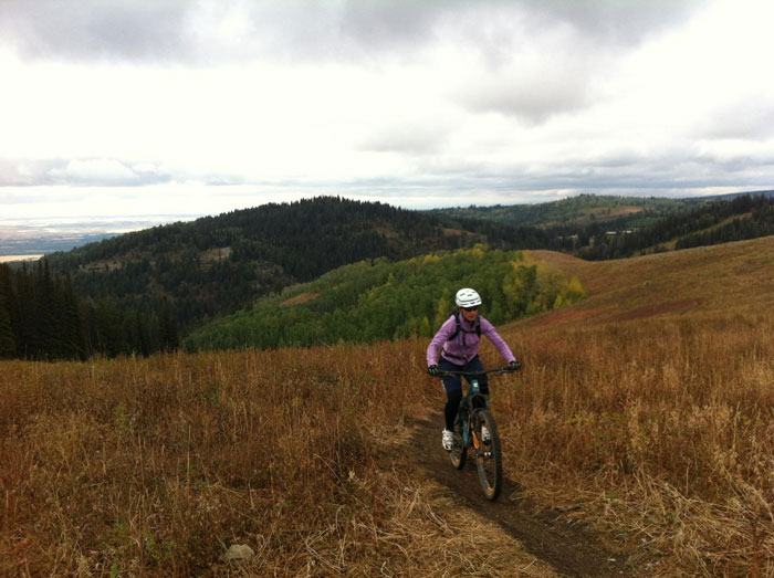 Jocelyn mountain biking in Grand Targhee, Wyoming. Photo: Contributed.