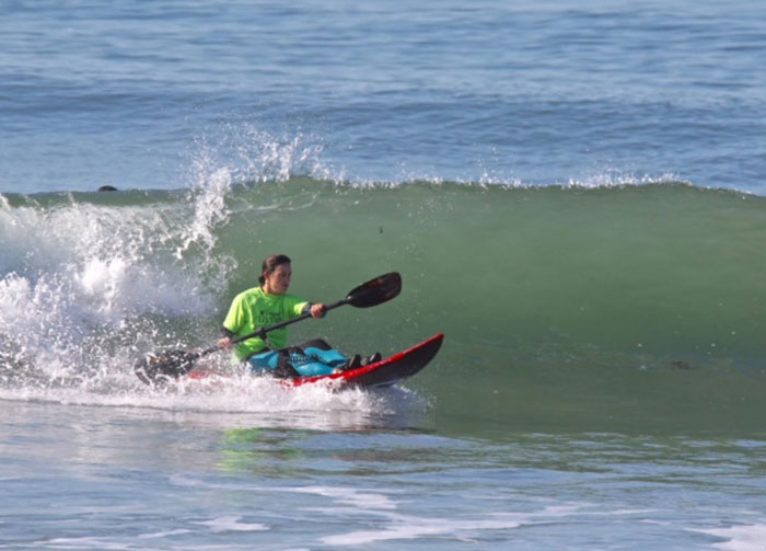 Jocelyn competing in the Ventura Paddle Surfing Championships this past year. Photo: Mark Boyd Photography.