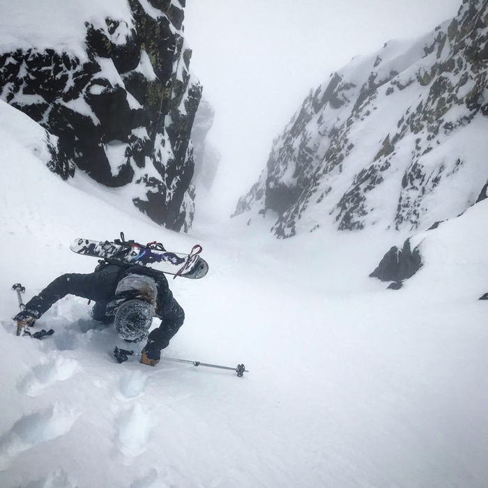 Toby Schwindt gets walled in the classic Crescent Couloir.