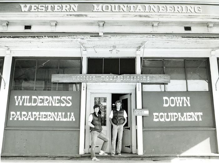 Western Mountaineering founders Gary Schaezlein and Jeff Jones in front of their retail storefront in the early 70s.