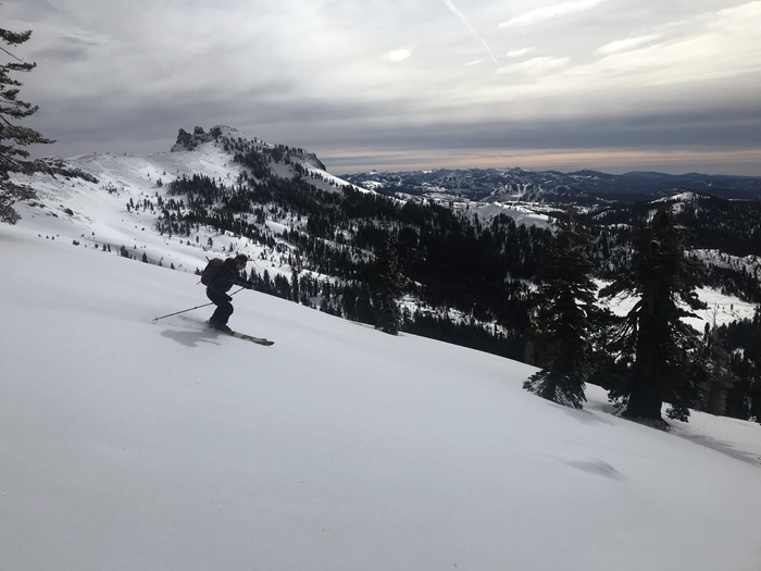 A nice view of the NW tree pitch on Castle Peak from neighboring Basin Peak.