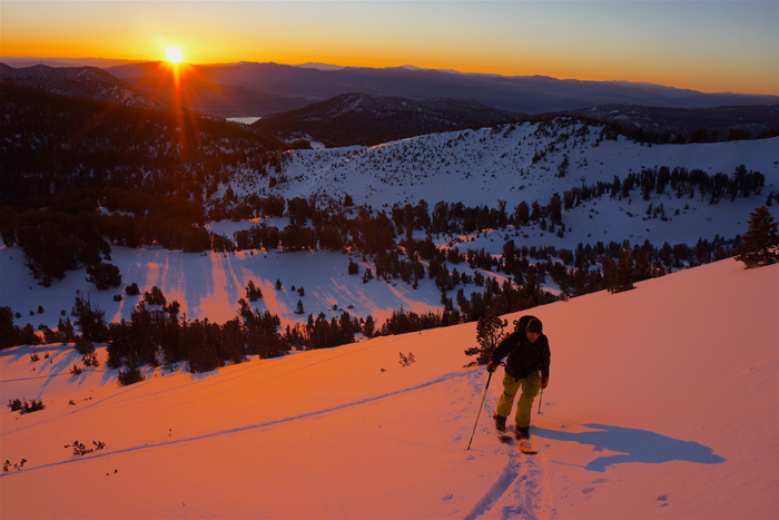 Keith Davis catching the sunrise form the Mt. Rose area skintrack.
