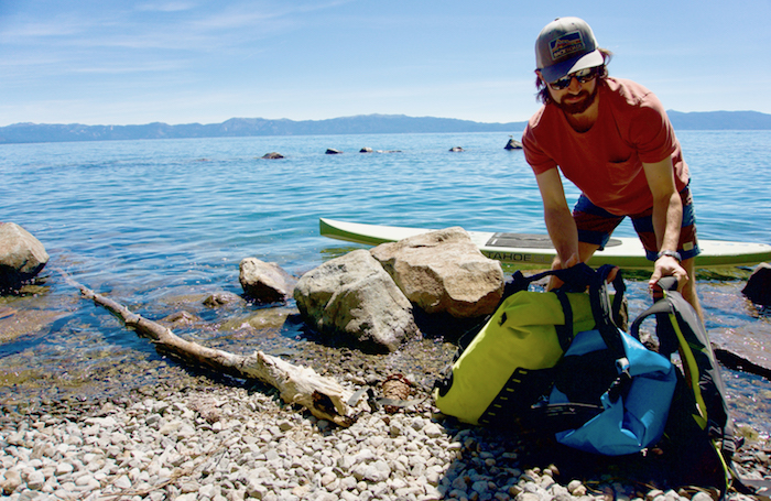 Getting ready to paddle on Lake Tahoe