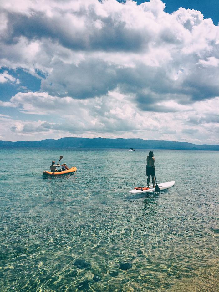 SUP and kayak together on Lake Tahoe