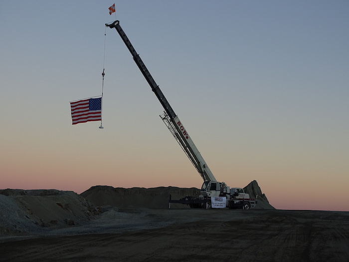 The American flag hangs proudly at the peak of Vulcan Materials Company's Chula Vista Quarry.