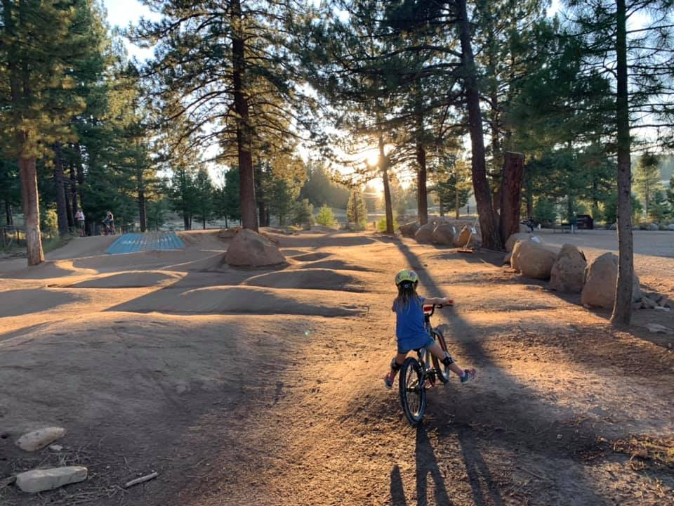 A girl has fun at the family-friendly Truckee Bike Park.
