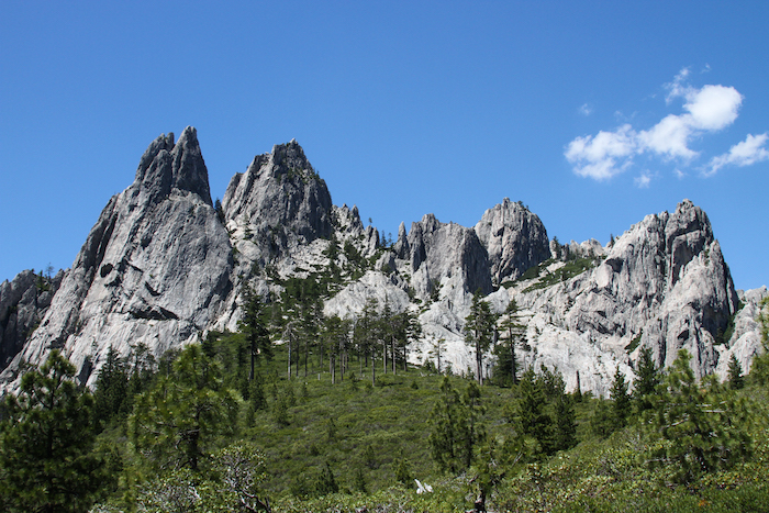 The Castle Crags are massive spires of granite rising to 6,000 feet.