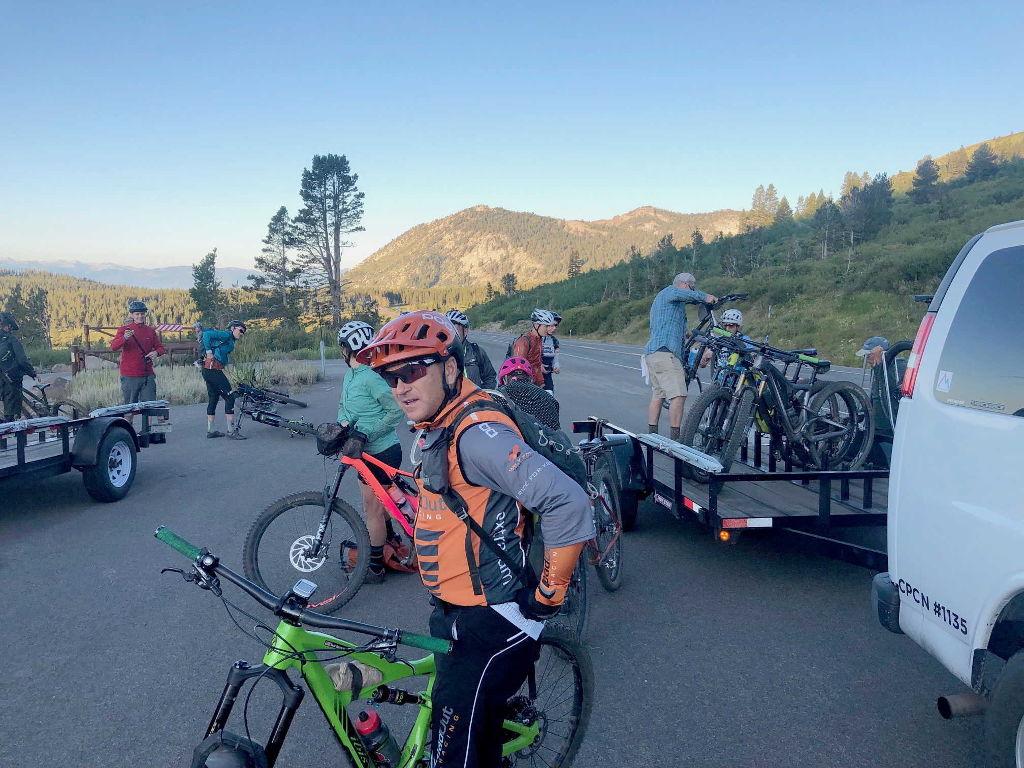 Mountain bikers getting ready to ride the Tahoe Rim Trail.