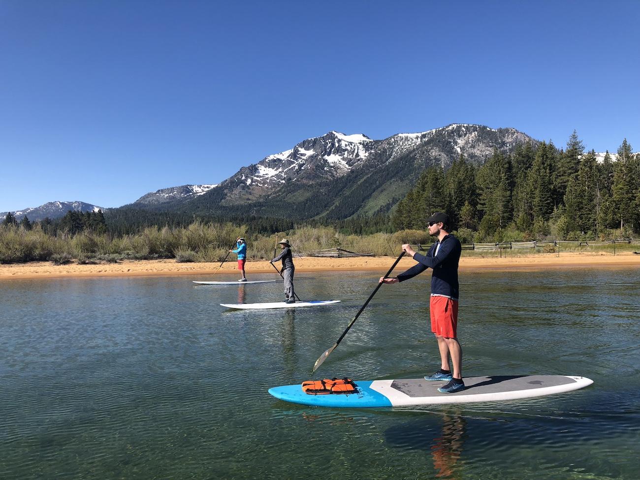 Paddle boarders on Lake Tahoe.