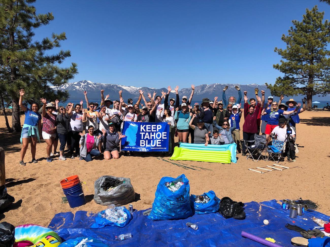 An image of a large group of Keep Tahoe Blue volunteers.