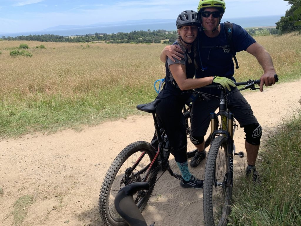 The eMTB Evolution — the author with her husband with their bikes at Wilder Ranch in Santa Cruz