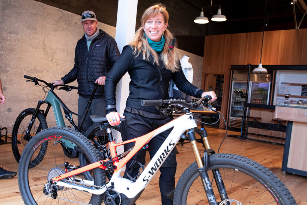 The eMTB Evolution —the author in the new Specialized store in Santa Cruz. Photo: Jay Melena