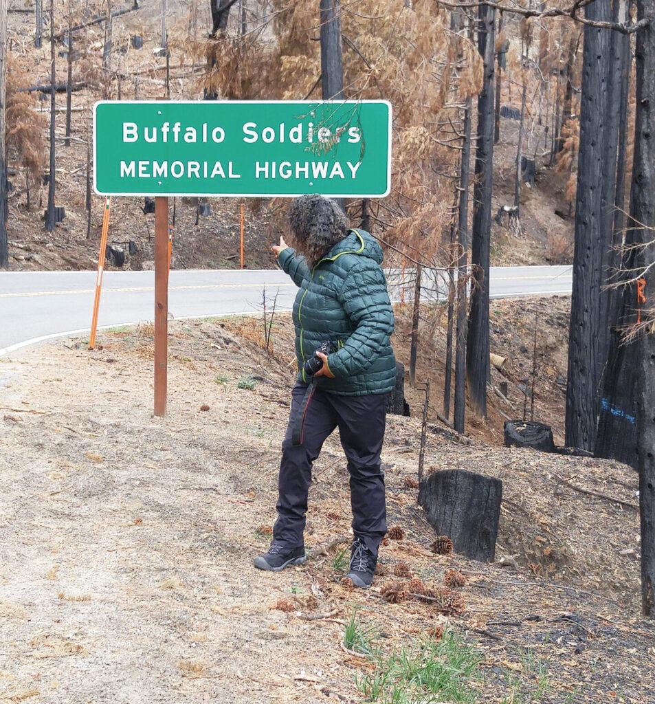 Teresa Baker at Buffalo Soldeirs Memorial Highway Sign